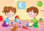 76047-Royalty-Free-RF-Clipart-Illustration-Of-A-Brother-And-Sister-Playing-With-Toys-In-Their-Play-Room